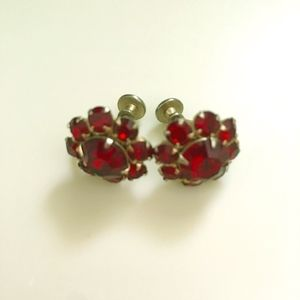 Jewelry - Vintage Red Cut Glass Flower Screw Back Earrings